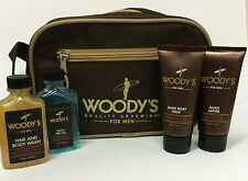 WOODY´S For Men Holiday Travel Kit Reise Set Shampoo Gel Rasur Shave + Tasche