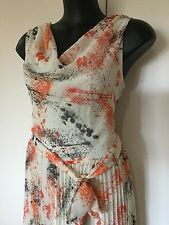 Size 16 Smart Flattering Vintage Feel Orange Black Pleated Skirt Dress
