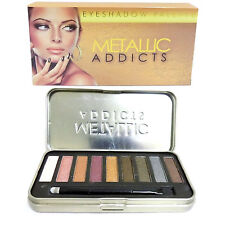 Saffron Metallic Addicts Eyeshadow Eye Shadow Palette in Tin, 9 Metal Shades