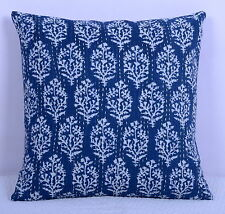 Blue Floral Print Pillow Cover Kantha Stitch Cotton Indian Cushion Case 16""