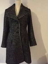 Stunning REISS black / White Fitted Long Wool Blend Coat Size S Uk 8 - 10 VGC