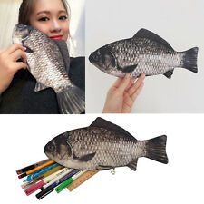 Funny Rare Silver Carp Fish Zipper Change Purse Pencil Case Make-Up Pouch