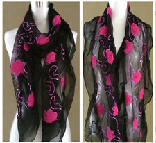 Bling Bead Black Flower Embroidery Lace Lovely Multi Color Soft Light Scarf