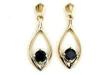 9ct Gold Sapphire Open Drop earrings Made in UK Gift Boxed