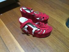 VERALI RED SUEDE LOOK WEDGES SIZE 8 STRAPPY TOP