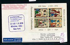 96099) LH FF München - Köln - New York 1.11.70, Brief ab Liechtenstein Block