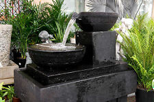 GRC Garden Patio Water Feature Frangipani 2 Tier Cascading Cup Fountain Black
