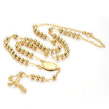 Cross Jesus Pendant Rosary Unisex Chain Long Necklace Mens 18K Gold Plated