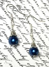 Antique Vintage Style Earrings Drop Blue Pearl Silver Hooks Gift P&P Discount