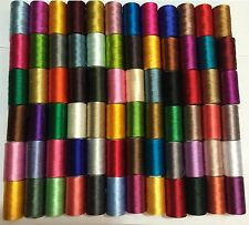 75 x Large Art Silk Rayon 100% Sewing Embroidery Threads Vibrent Solid Colours