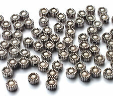 75 x 5mm Antique Silver Plated Flower Daisy Spacer Beads, jewellery craft