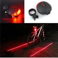 2 Laser +5 LED flashing lamp Rear Cycling Bicycle Bike Safety Warning Tail Light