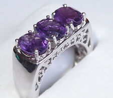 3-stone Amethyst (3.500ct) ring, in platinum bond, Size P.