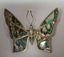 BUTTERFLY PIN BROOCH STERLING SILVER ABALONE NA MEXICO INLAID ANTIQUE VINTAGE