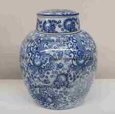 Ginger Jar Blue and White, 25cm, Toile Ginger Jar, Porcelain Vase with Lid,