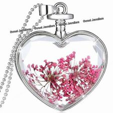 BLACK FRIDAY SALE - Pink Flowers & Silver Heart Necklace Xmas Gift For Her Women
