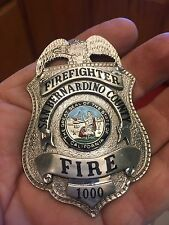 Vintage Obsolete San Bernardino County Firefighter Badge #1000 With Patch