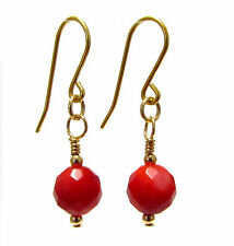 9ct Gold Drop Earrings with Genuine Semi-precious Red Coral Gemstone Beads