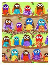 Quilting Fabric Flannel/Flannelette 1/2 (Half) Metre Owls On Branches CE60031-6