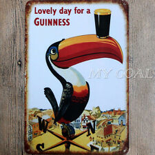 Shabby-Chic Guinness Metal Tin Sign Vintage Wall Plaque Pub Bar Tavern Garage