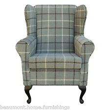 Medium Wing Back Fireside Armchair Orthopaedic in Blue Lana Check with Studding