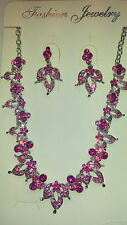 Dark pink   Diamante Flower crystal Necklace & earrings set Silver colour chain