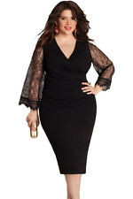 Sexy Plus Size Long Lace Sleeves DRESS Evening Party Club Wear Top 3XL - 16 / 18
