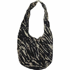Tie Dye Black Beige Boho Sling Handbag Purse Womens Ladies Girl Kid Shoulder Bag