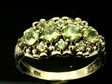 Genuine 9ct Solid Yellow Gold NATURAL Peridot Cluster Anniversary Ring size 8
