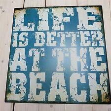 LARGE METAL NAUTICAL WALL ART SIGN SHABBY VTG CHIC PLAQUE HOME GIFT BEACH LIFE