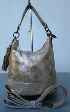 Beuteltasche Handtasche Damen Hobo-Bag Schultertasche Beutel gold metallic NEU
