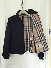 BURBERRY LONDON NAVY BLUE QUILTED JACKET WITH REMOVABLE CUFF BELT SIZE MEDIUM
