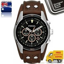 NEW FOSSIL MENS COACHMAN WATCH SILVER TONE SS BROWN LEATHER CUFF CHRONO CH2891
