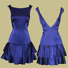 Karen Millen Blue/Purple Satin Frill Hem Low V-Back Cocktail Formal Dress sz-8