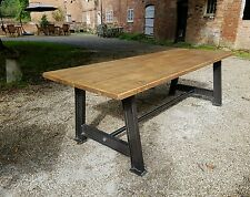 Industrial Steampunk Style Hand Made Bespoke Dining Table with Rustic Top