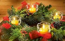 4 Teelicht Kerzen Halter für Adventskranz Weihnachten oder Kuchen Glas Stecker