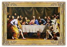 Letzte Abendmahl-Museumsqualität-105x75cm Ölgemälde handgemalt + Rahmen Signiert