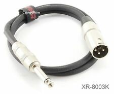 "3ft. Kirlin XLR 3-Pin Male / 1/4"" Mono Male Shielded OFC Microphone Cable"