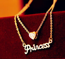 Women Girl Princess heart 18K Gold Plated chain Short Necklace Valentine's Gift