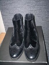 ALLSAINTS BLACK LEATHER AND FABRIC BROGUE HARNESS ANKLE BOOTS UK 6 EU 39