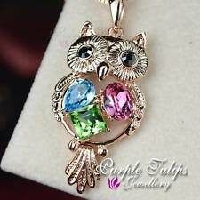18CT Rose Gold Plated Luxurious Owl Necklace W/ Swarovski Crystal