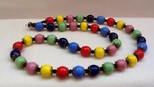 Vintage Harlequin Necklace Czech Glass Beads Art Deco Style Rainbow Multi-Colour