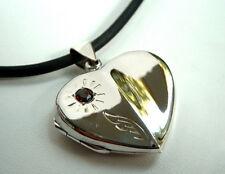 925 ECHT SILBER *** Riesengroßer Herz Granat Medaillon