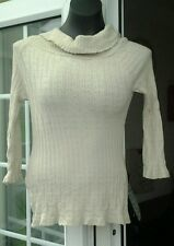 NEW LOOK BEIGE LONG SLEEVED COWL NECK THIN JUMPER - SIZE 14