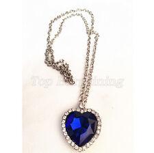 Crystal Stunning Titanic the heart of ocean blue diamond necklace Rare Gift