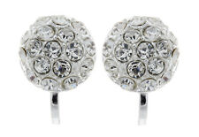 CLIP ON EARRINGS - silver plated stud earring with crystal diamantes - Holly