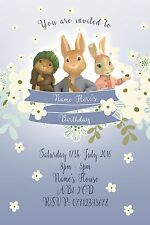 Personalised Peter Rabbit Party Invitations and Matching Printed Envelopes x 10