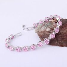 "Fahion 18k white gold filled pink sapphire sweet heart bracelet 7.5""13.9g"