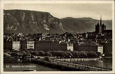 Genève Genf Schweiz alte s/w AK 1932 Teilansicht Blick auf die Kathedrale Berge