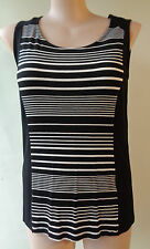 NEW Brown Sugar black white striped sleeveless stretch top size 14 NWT